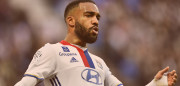 Lyon's French forward Alexandre Lacazette gestures during the French L1 football match between Olympique Lyonnais (OL) and Dijon (DFCO) on February 19, 2017, at the Parc Olympique Lyonnais stadium in Decines-Charpieu near Lyon, central-eastern France.  / AFP / ROMAIN LAFABREGUE        (Photo credit should read ROMAIN LAFABREGUE/AFP/Getty Images)