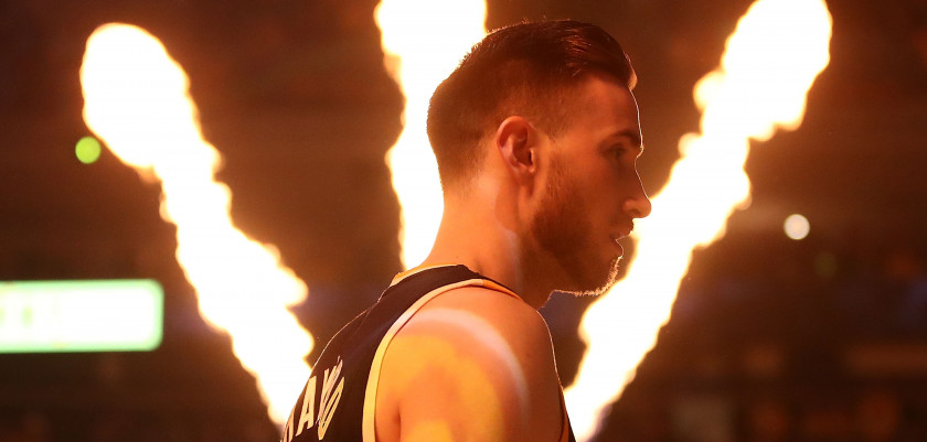 OAKLAND, CA - MAY 04:  Gordon Hayward #20 of the Utah Jazz looks on during pregame introductions against the Golden State Warriors Game Two of the NBA Western Conference Semi-Finals at ORACLE Arena on May 4, 2017 in Oakland, California.  NOTE TO USER: User expressly acknowledges and agrees that, by downloading and or using this photograph, User is consenting to the terms and conditions of the Getty Images License Agreement.  (Photo by Ezra Shaw/Getty Images)