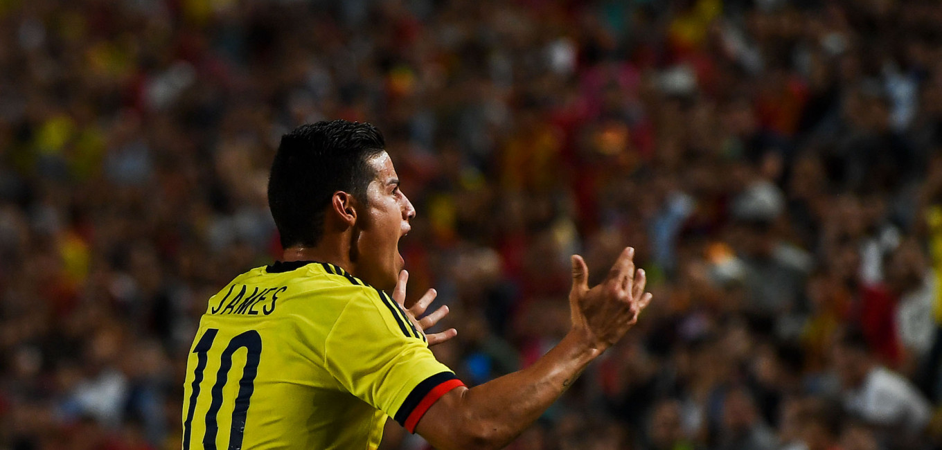 MURCIA, SPAIN - JUNE 07:  James Rodriguez reacts during a friendly match between Spain and Colombia at La Nueva Condomina stadium on June 7, 2017 in Murcia, Spain.  (Photo by David Ramos/Getty Images)