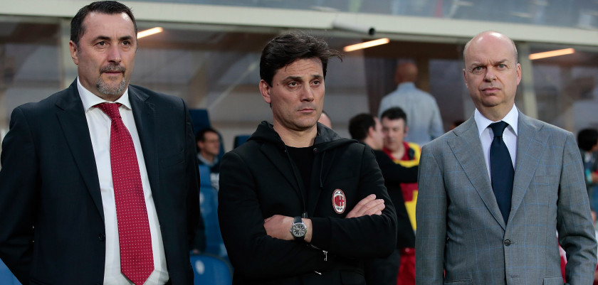 BERGAMO, ITALY - MAY 13:  (L-R) Sport Director of AC Milan Massimiliano Mirabelli, AC Milan coach Vincenzo Montella and AC Milan CEO Marco Fassone look on before the Serie A match between Atalanta BC and AC Milan at Stadio Atleti Azzurri d'Italia on May 13, 2017 in Bergamo, Italy.  (Photo by Emilio Andreoli/Getty Images)