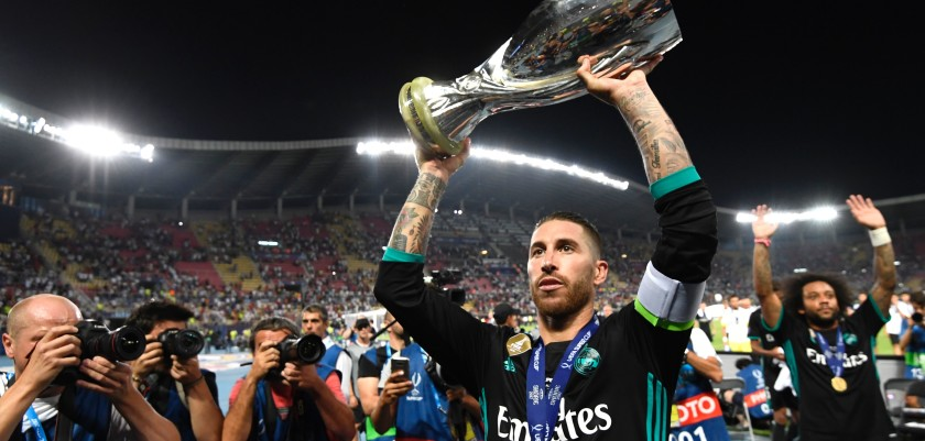 Real Madrid's Spanish defender Sergio Ramos holds the trophy after winning the UEFA Super Cup football match between Real Madrid and Manchester United on August 8, 2017, at the Philip II Arena in Skopje. / AFP PHOTO / Dimitar DILKOFF        (Photo credit should read DIMITAR DILKOFF/AFP/Getty Images)