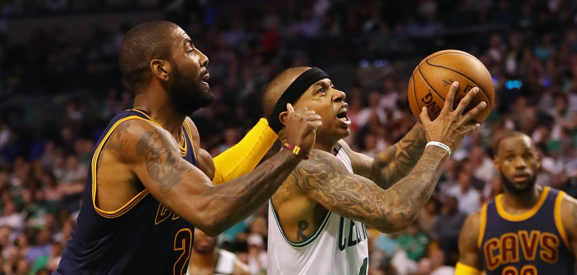 BOSTON, MA - MAY 17:  Isaiah Thomas #4 of the Boston Celtics drives to the basket against Kyrie Irving #2 of the Cleveland Cavaliers in the second half during Game One of the 2017 NBA Eastern Conference Finals at TD Garden on May 17, 2017 in Boston, Massachusetts. NOTE TO USER: User expressly acknowledges and agrees that, by downloading and or using this photograph, User is consenting to the terms and conditions of the Getty Images License Agreement.  (Photo by Elsa/Getty Images)