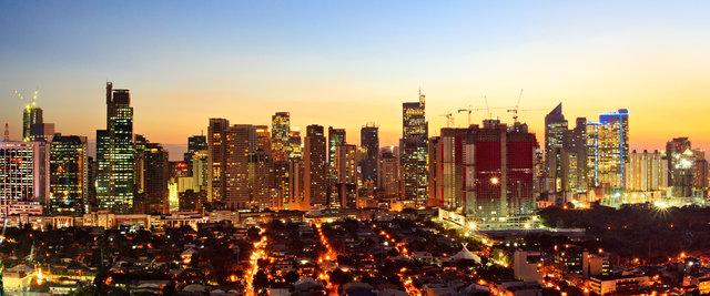 a lit up city skyline