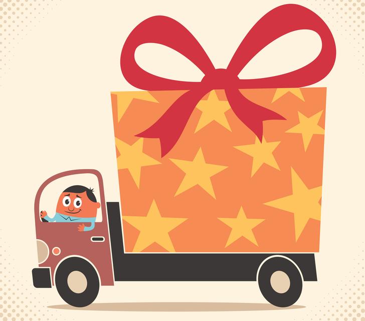 Cartoon driving a truck shaped like a present