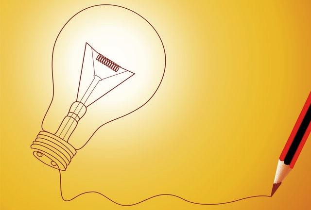 A lightbulb drawn with a pencil