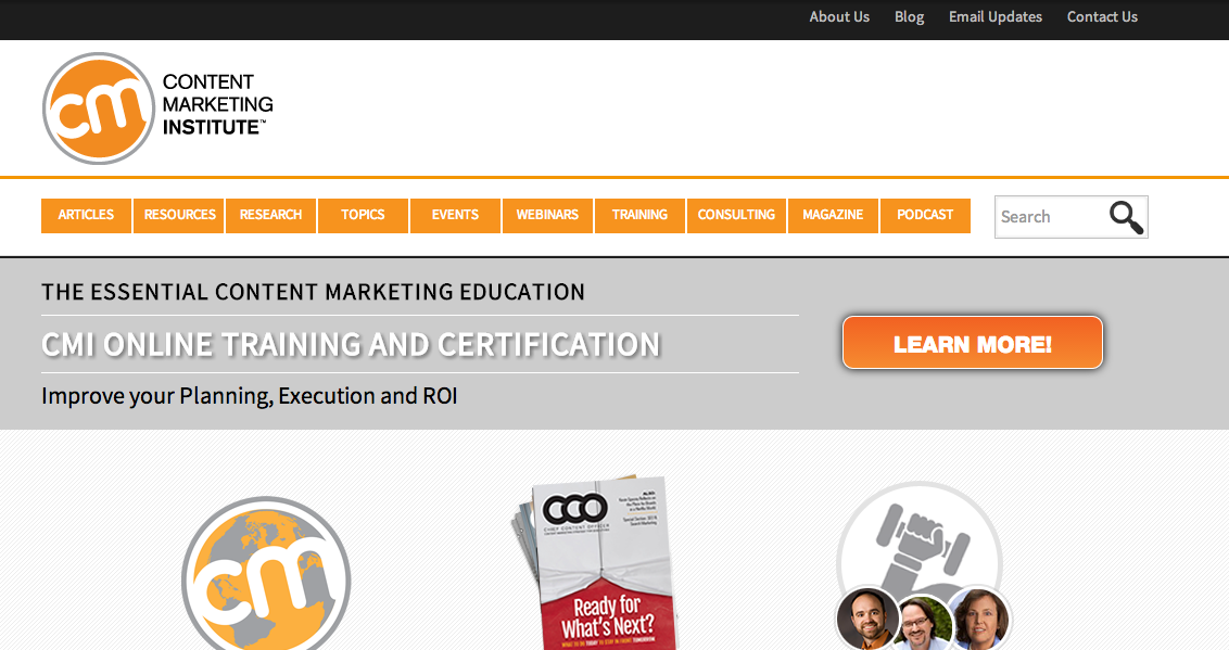 screenshot of Content Marketing Institute website