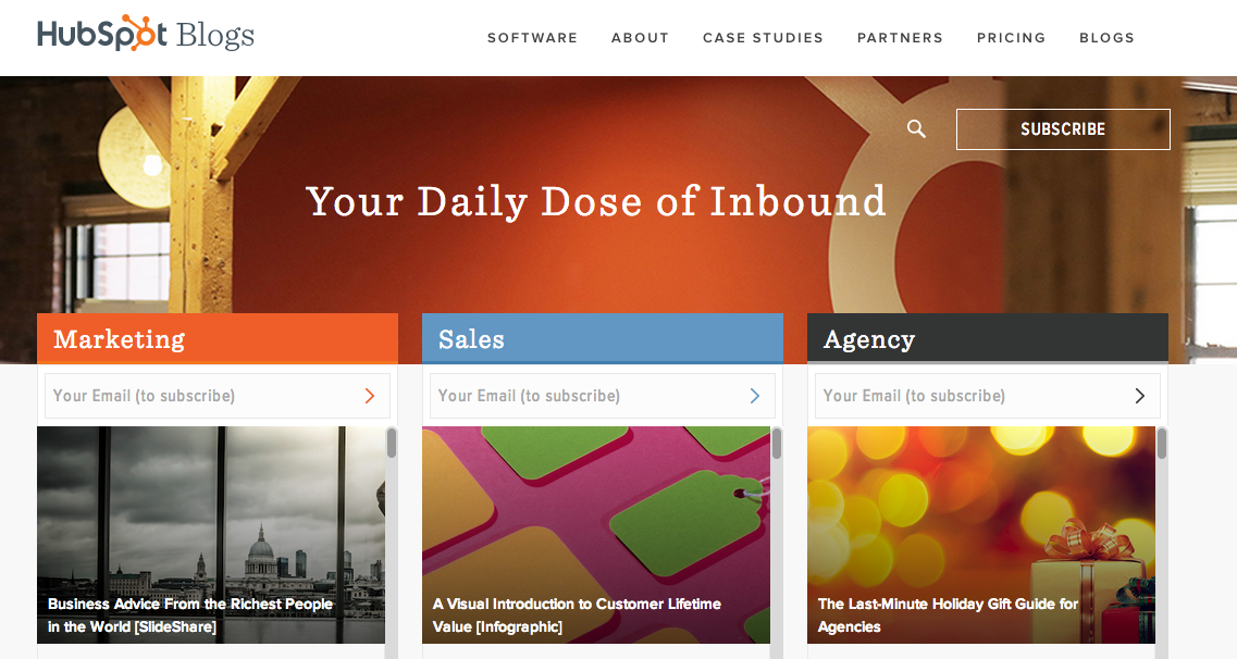 screenshot of Hubspot blog website marketing section