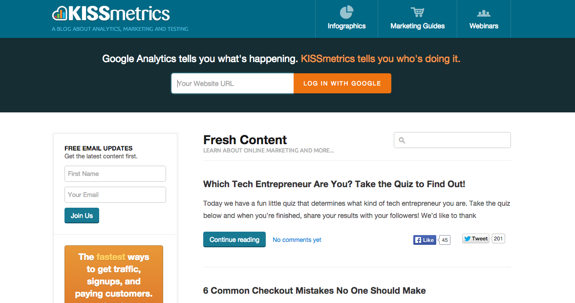 screenshot of KISSmetrics marketing blog website
