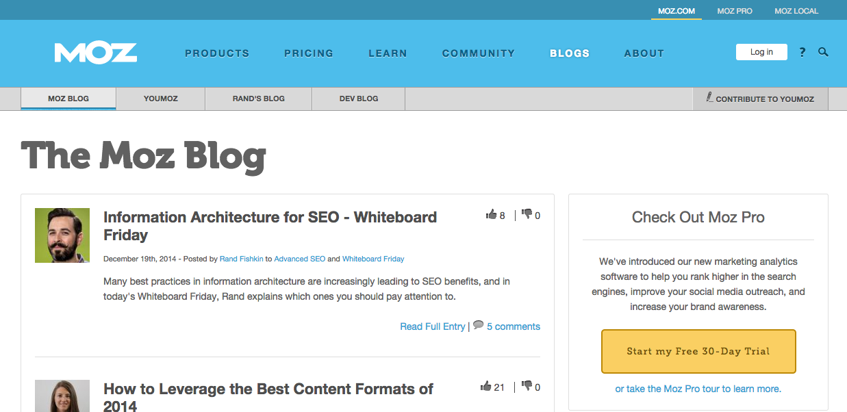 screenshot of Moz blog seo marketing website