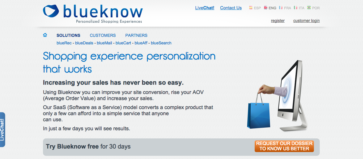Screenshot of BlueKnow website