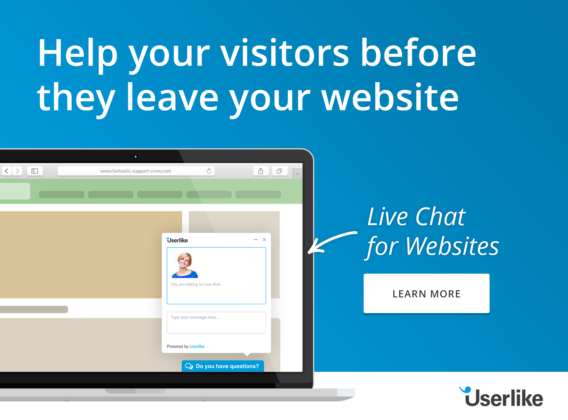 Cartoon of computer screen with Userlike live chat- header to blog post The Comm100 Live Chat Alternative by Userlike