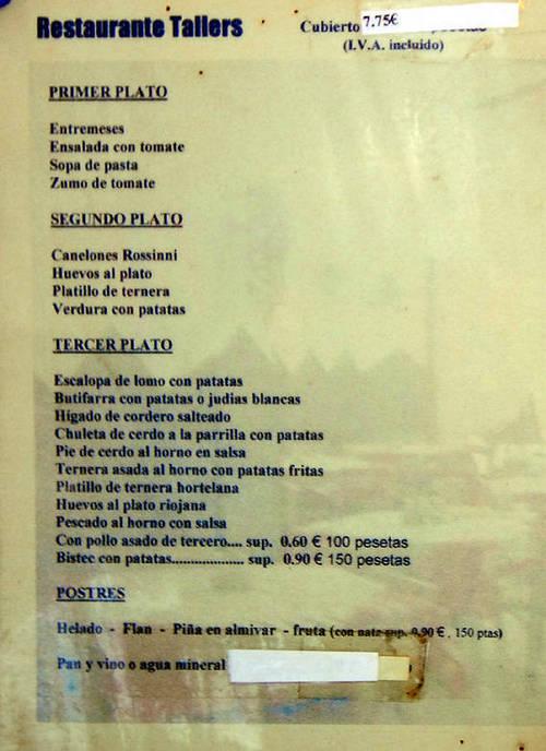 Tallers (Barcelona) Carta