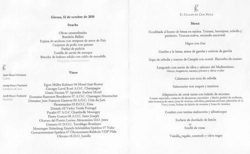 Restaurante El Celler de Can Roca (Girona) el menu festival y el maridaje