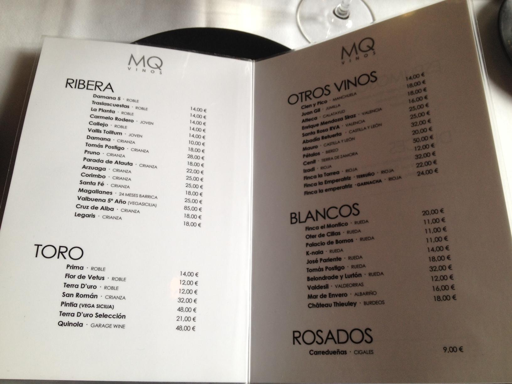 Martin Quiroga  (Valladolid) en Valladolid Carta de vinos del Restaurante