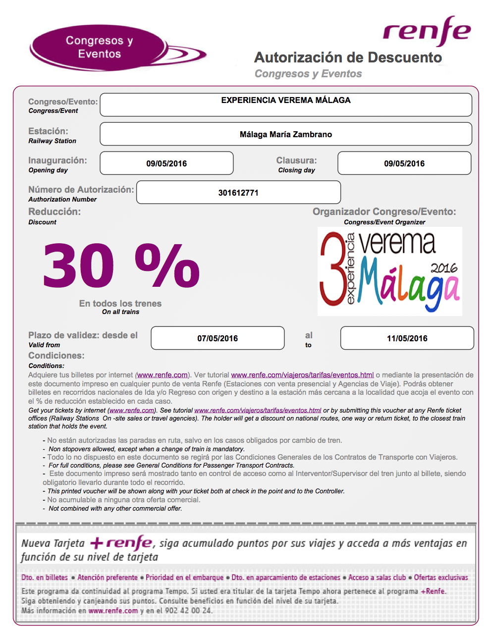 Descuento Renfe Verema Málaga 2016