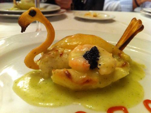 Restaurante Abadía del Rescate (Murcia) Patatas rellenas de caviar