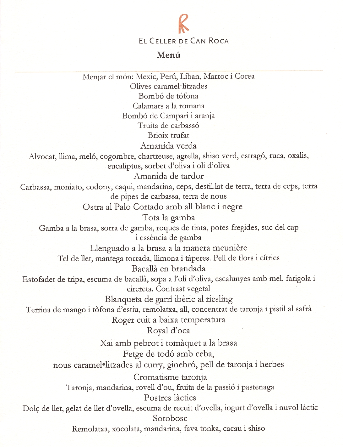 Restaurante El Celler de Can Roca can roca menu