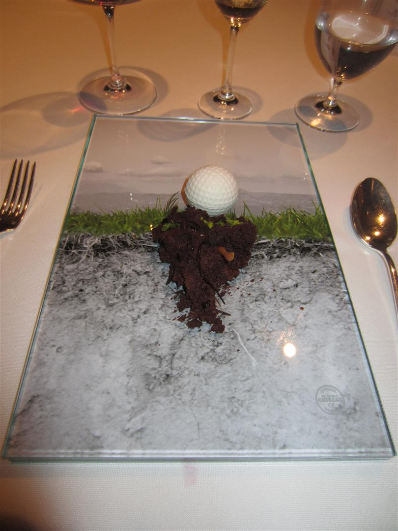 Sant Pau Golf (dessert): Chocolate cake, pistacio creme, golfball with strawberry and rosemary ice cream