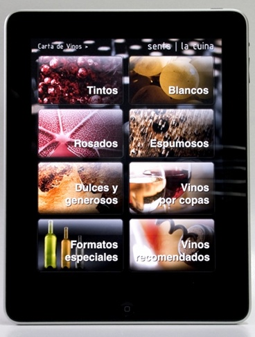 Restaurante Sents Carta de vinos en Ipad