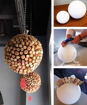 Formas de reciclar los tapones de corcho del vino - Lamparas caseras originales ...