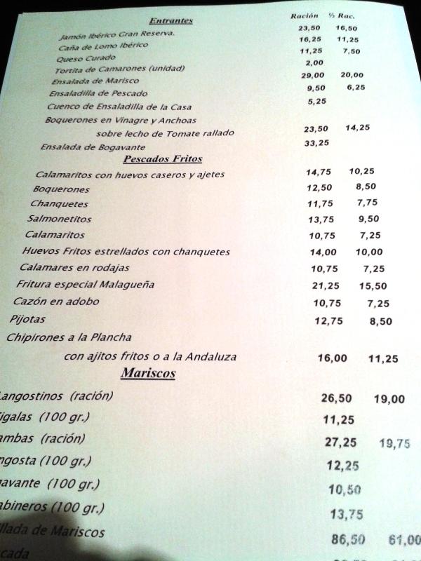 Restaurante La Dorada (Madrid) Carta Restaurante La Dorada de Madrid