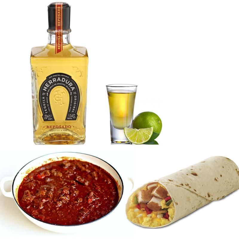 Tequila reposado con chili y burritos