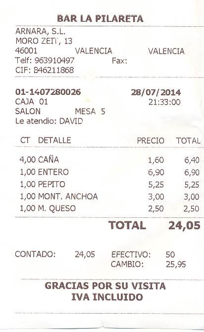 """Restaurante Bar Pilar """"La Pilareta"""" (Valencia)"""