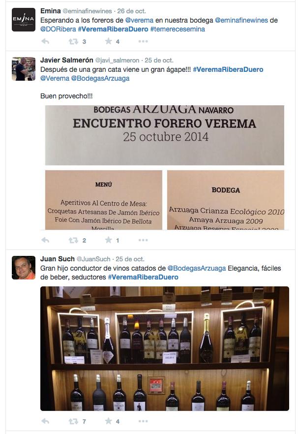 Twitter Encuentro Foreros en Ribera del Duero 2014