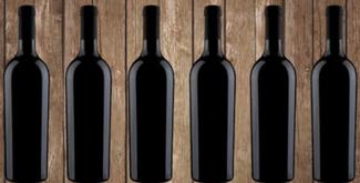 6 botellas negras logo