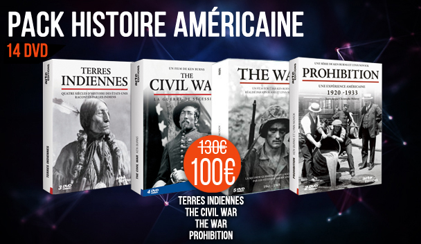 PACK Histoire Américaine : The War + Terres Indiennes + The Civil War + Prohibition - 14 DVD ref : 8474