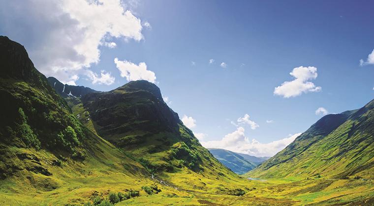 Glencoe mountain landscape in Lochaber, Scottish Higlands, Scotland. UK.