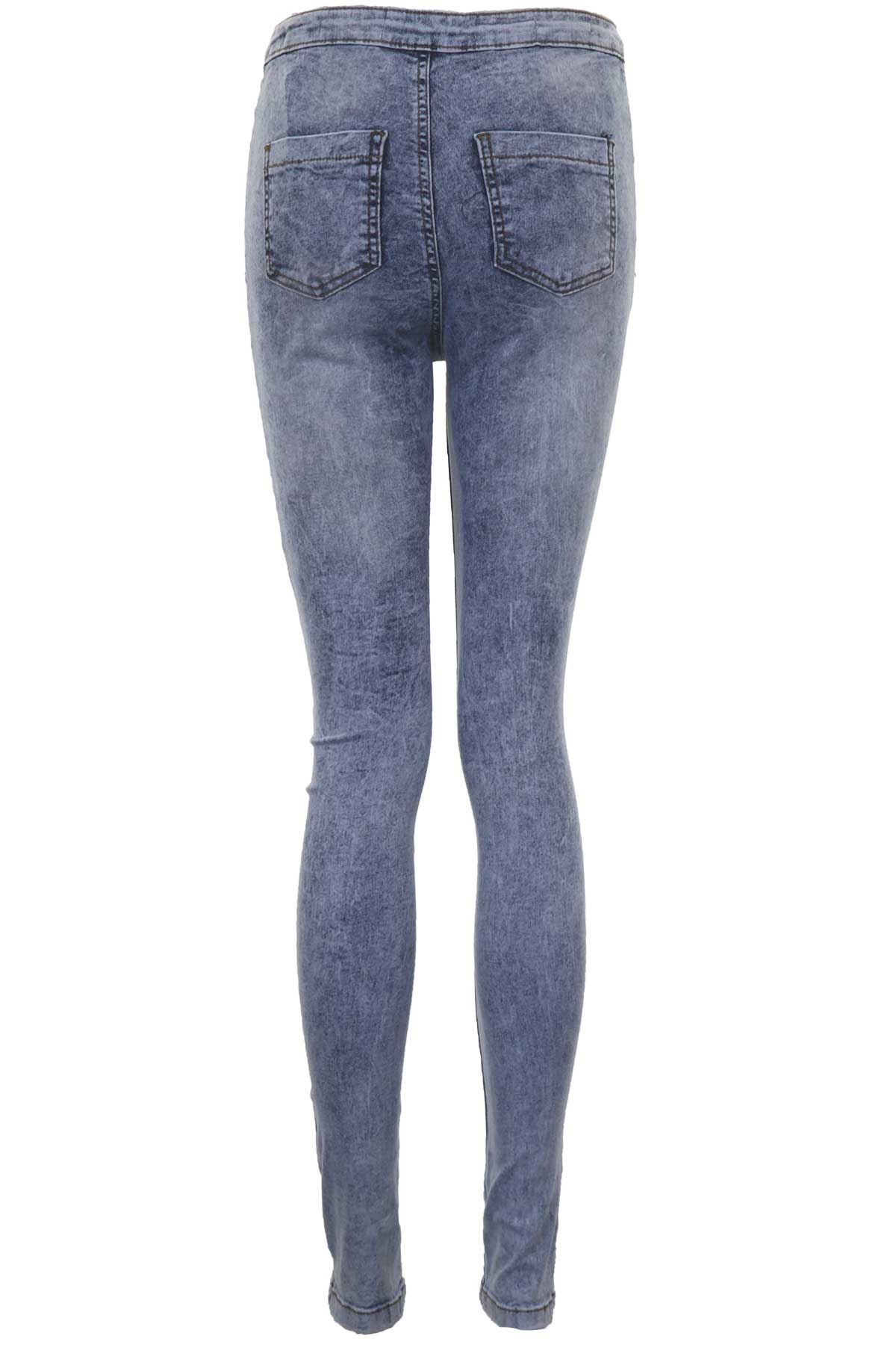 Damen Hoher Bund Hell Acid Wash Damen Slimfit Passform Jeans UK 6-14
