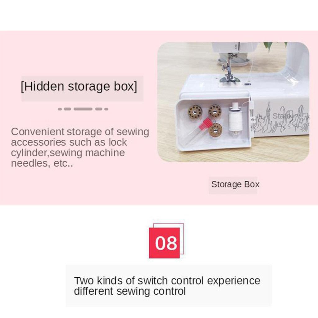 1Pcs Household Mini de Costura Máquina Double-Line Con LED Lámpara