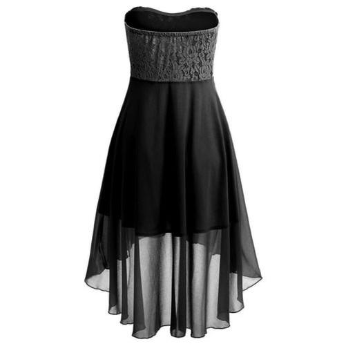 Damen Abend Party Cocktailkleid Schulterfrei Chiffon Bandeau Unregelmäßig Kleid