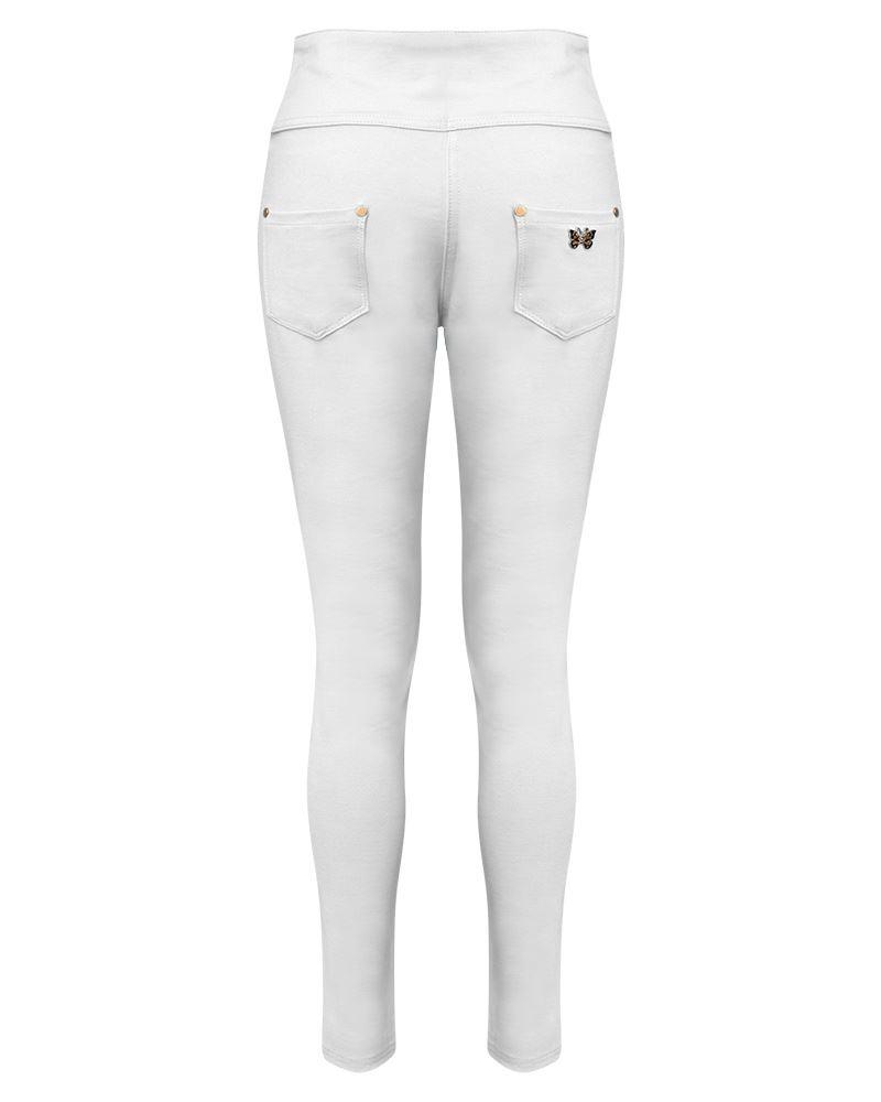Damen Stretch Hoher Bund Geknöpft Leggings Jeanshose