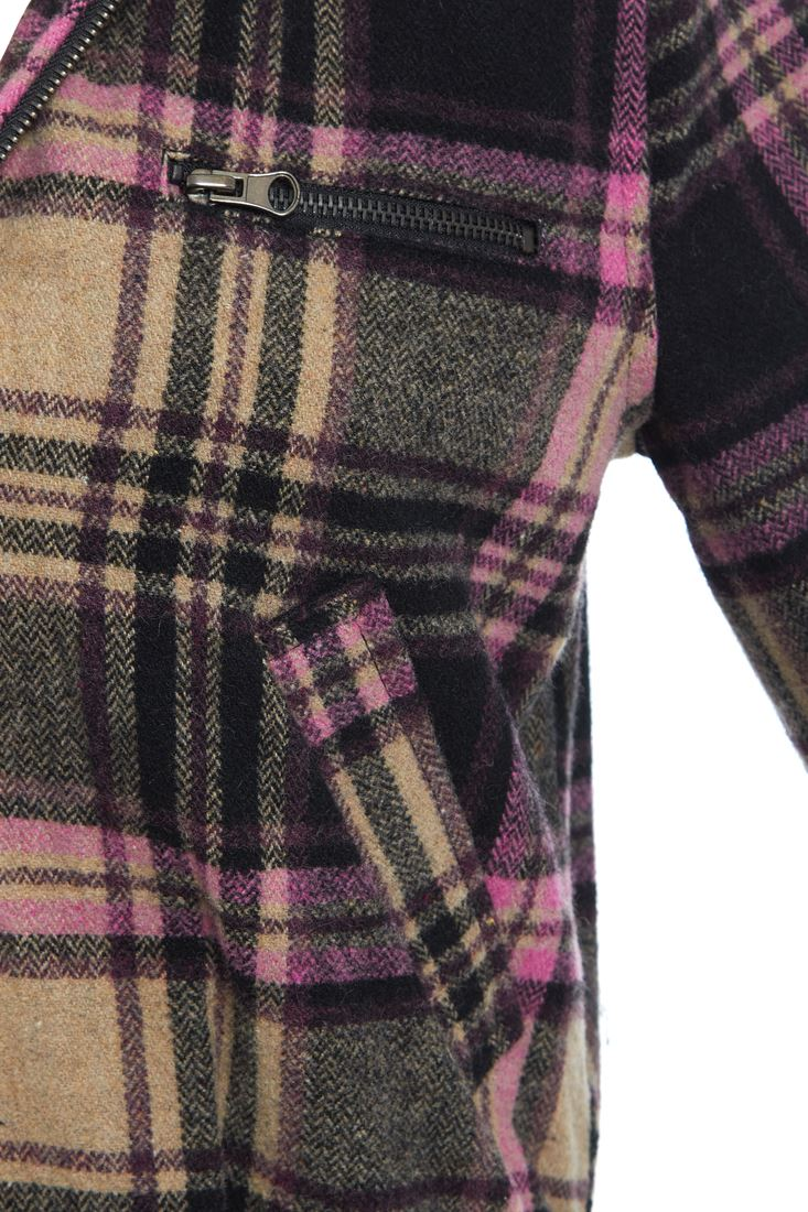 Damen Wolle Karierte Jacke Damen Mantel Größe 8 10 12 14 schwarz rosa grau NEU