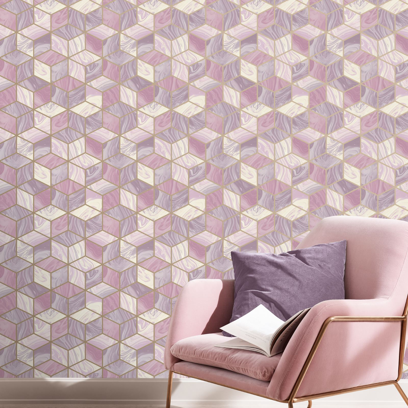 Luxus Glitzer Geometrisch Metallisch Fraktale Azurit /& Mehr Marmor Tapete