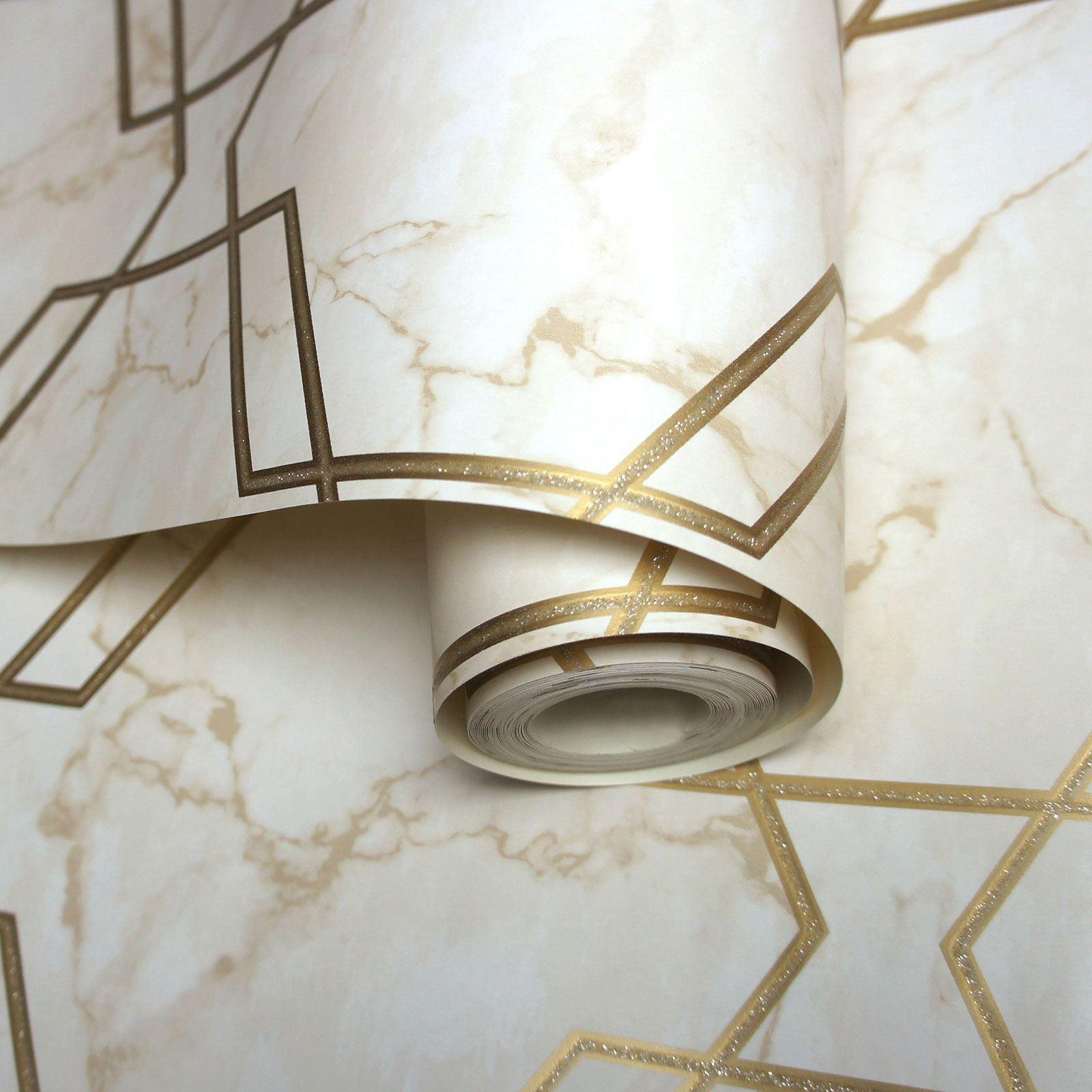 luxe Azurit Marbre papier peint-metalliques fractals géométrique