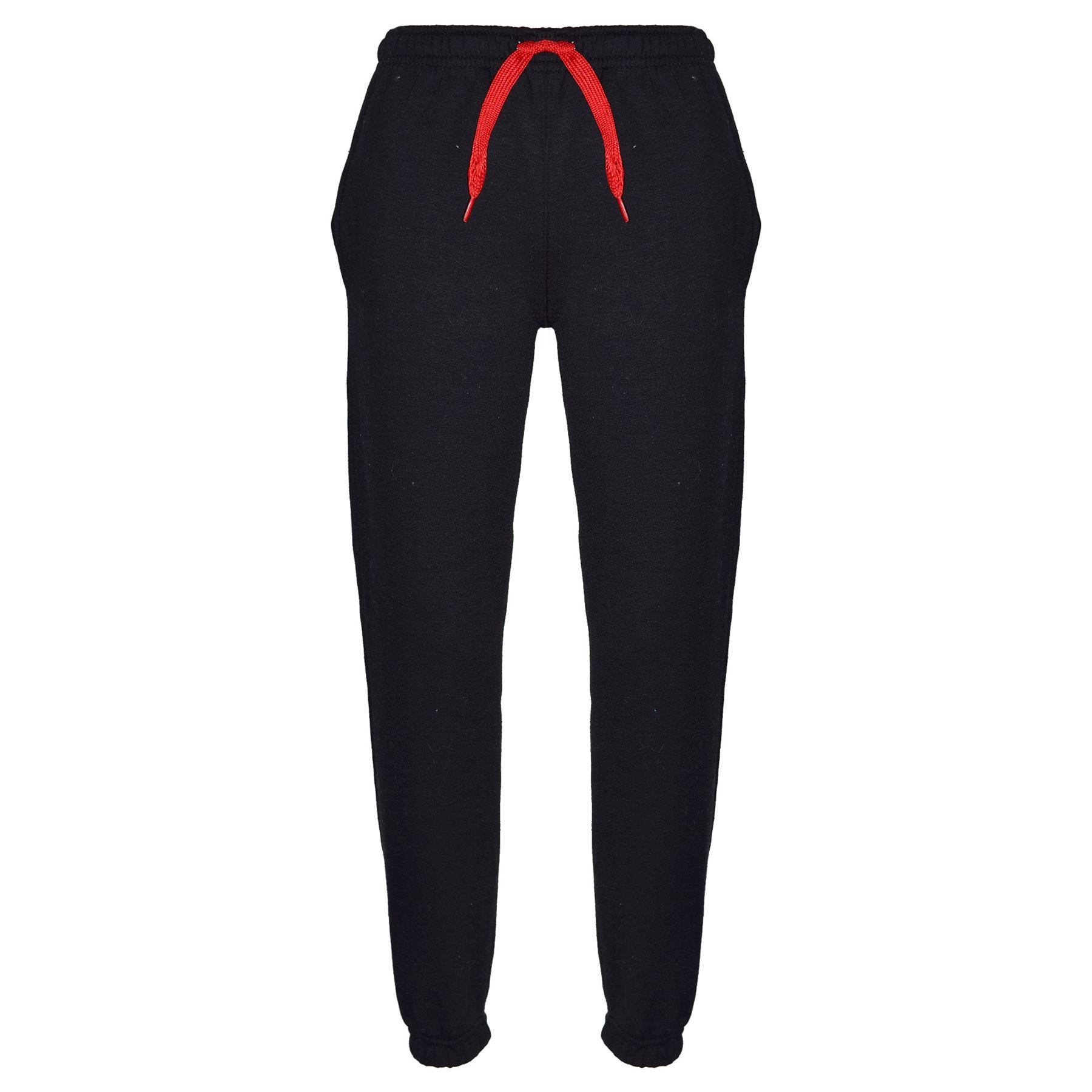Kinder Jungen Mädchen Trainingsanzug Fleece Schwarz /& Rot mit Kapuze /& Jogging