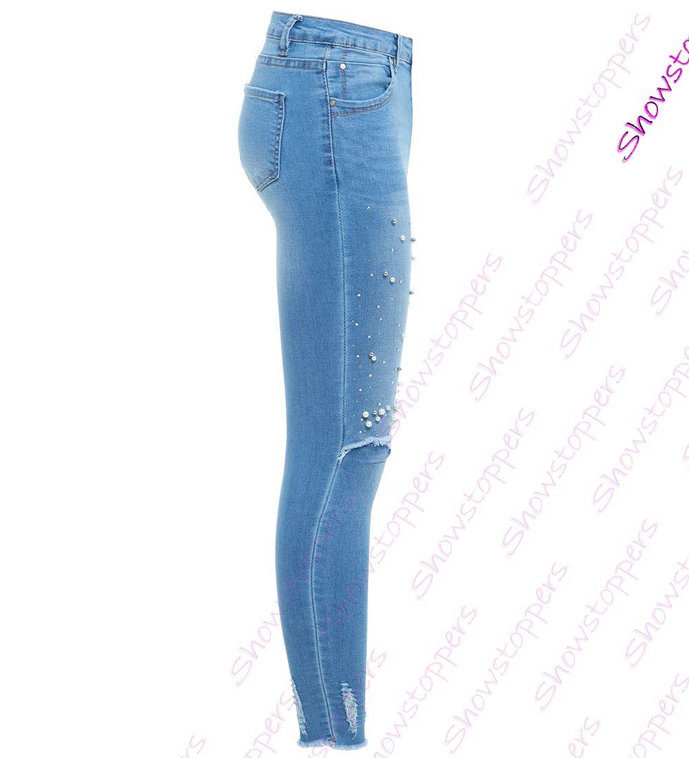 Femmes perle Slim Fit Jeans skinny genou RIP JEANS TAILLE 10 12 14 6 8 NEUF