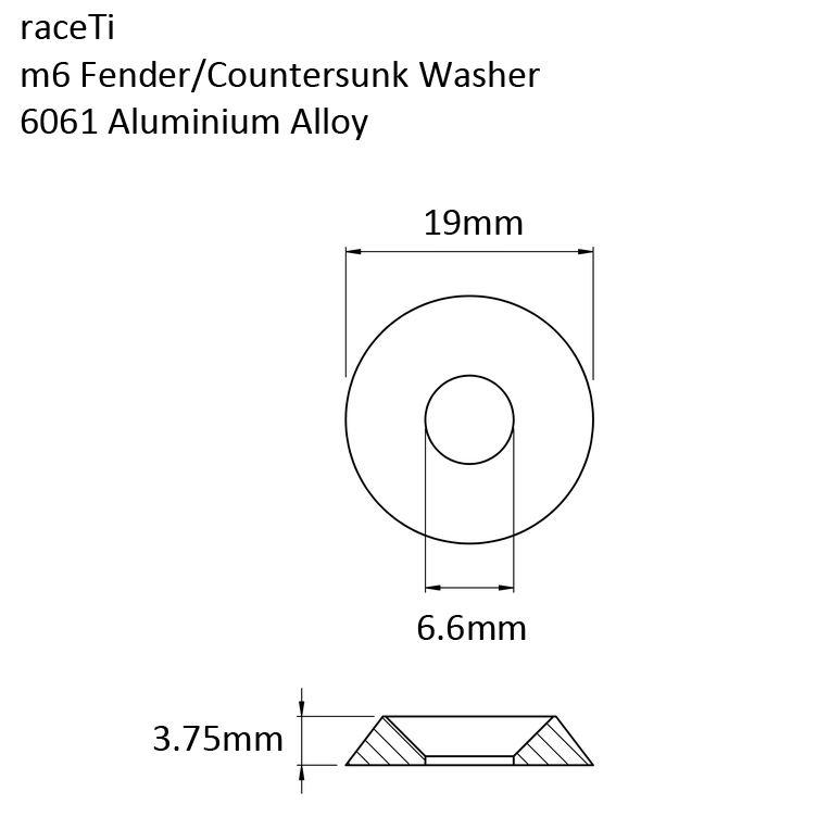 M6 Aluminium Countersunk Head Washer Trim Fender Kart Sport 19mm