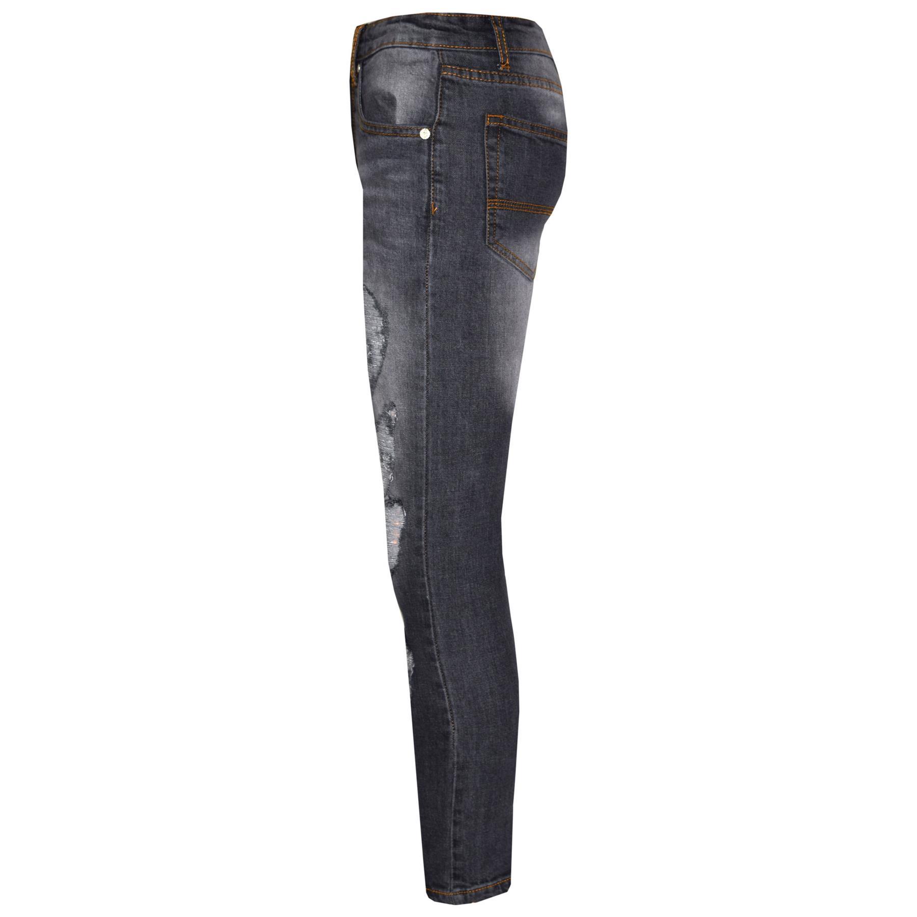 Kinder Stretch-Jeans Jungen Jeggings Zerrissen Skinny Hosen Alter 5-12 Jahr
