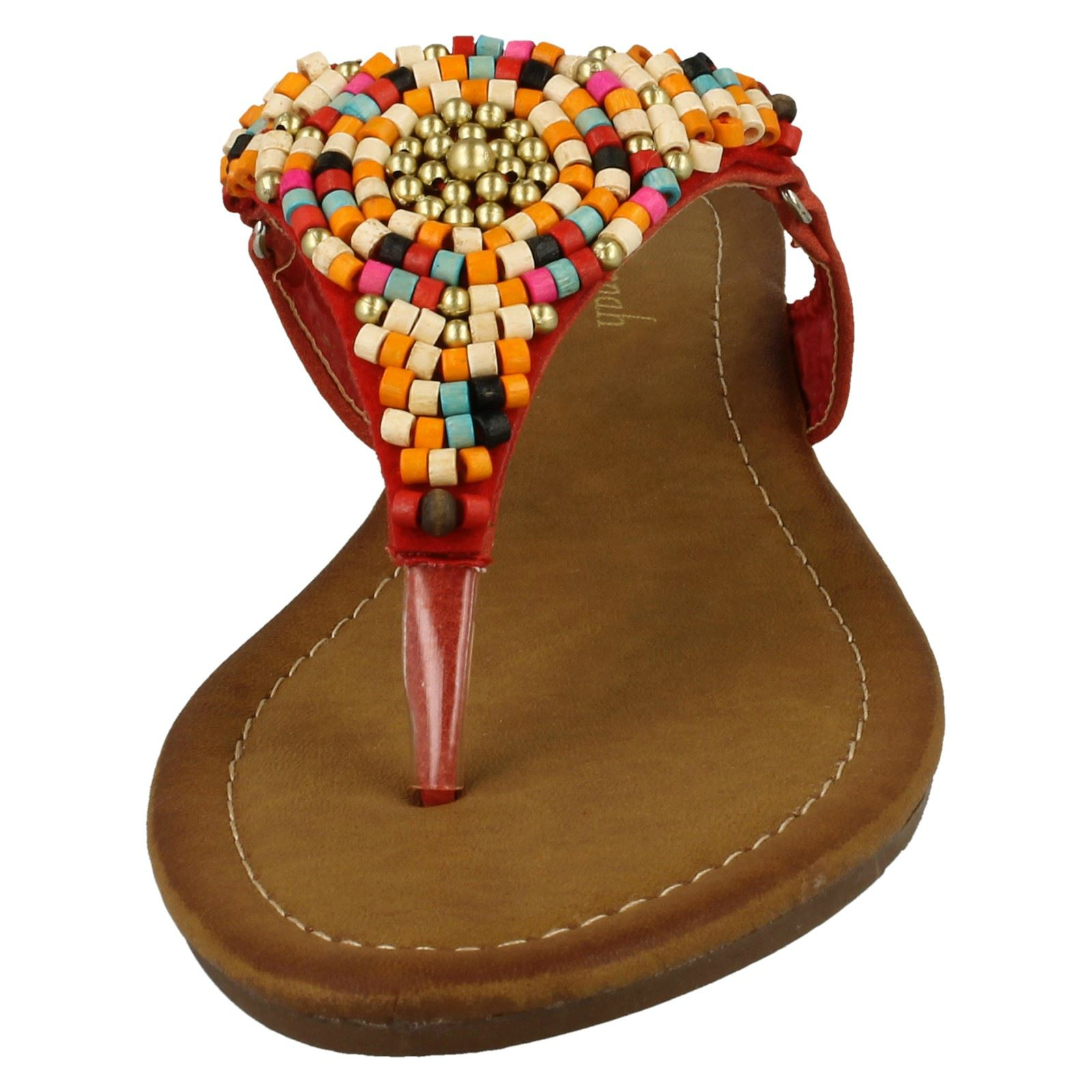 Damen Savannah Perlen Zehensteg Sandalen