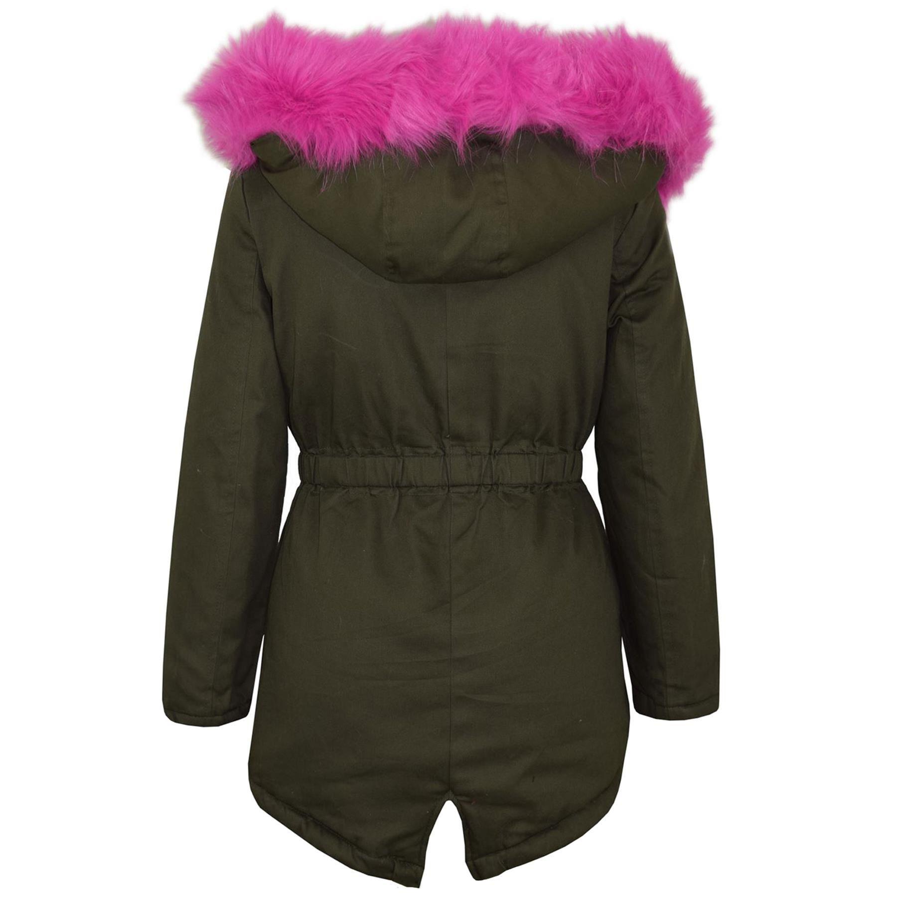 Kinder Jacke mit Kapuze Mädchen Regenbogen Pelz Parka Schule Outwear Mantel 5-13