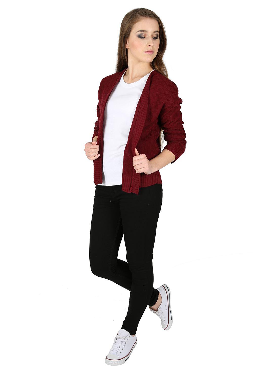 Women Ladies Checker Board Knit Long Sleeve Open Front Shrug Bolero Cardigan Top