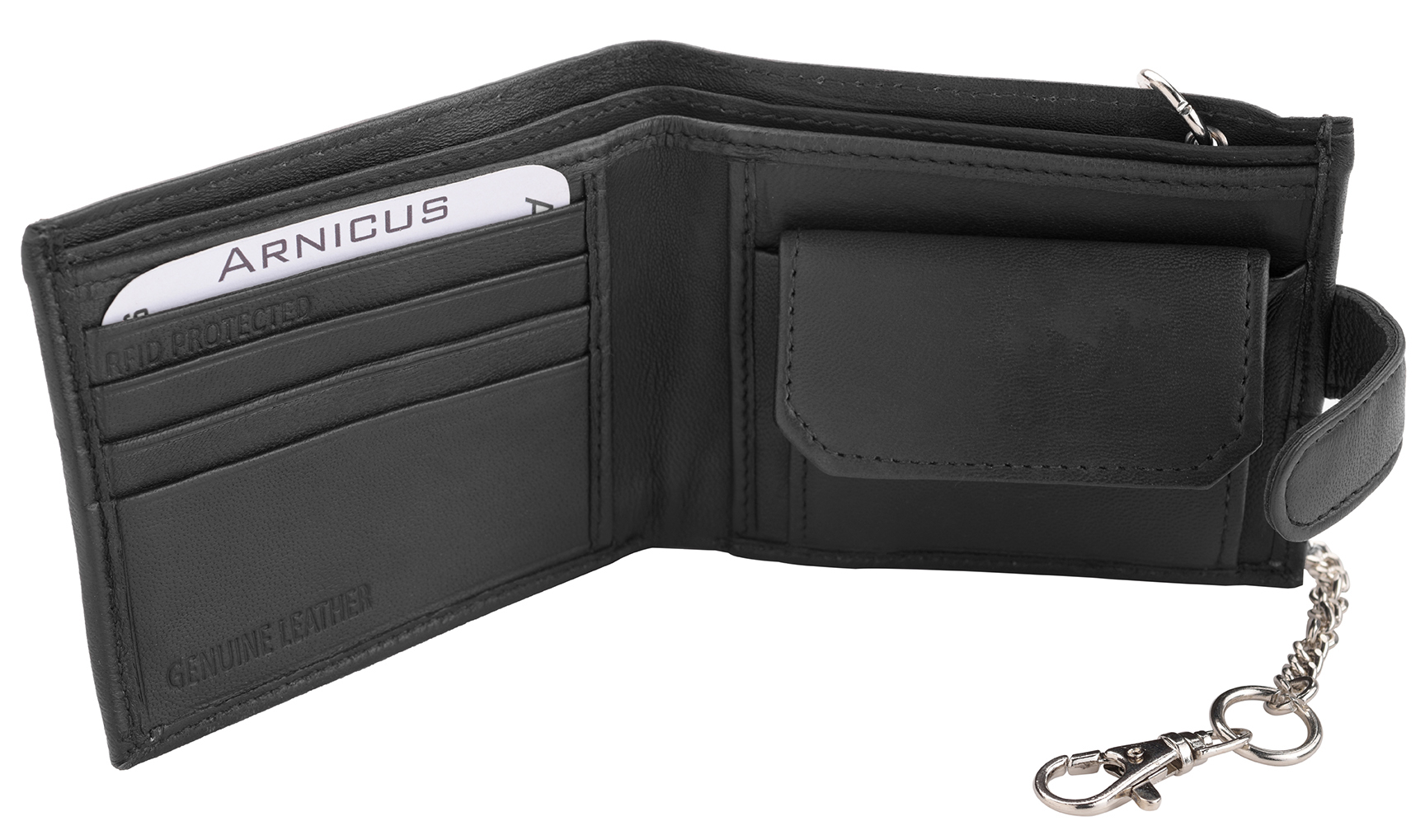 RFID Safe Mens Soft Genuine Nappa Leather Card Note Wallet with Safety Chain