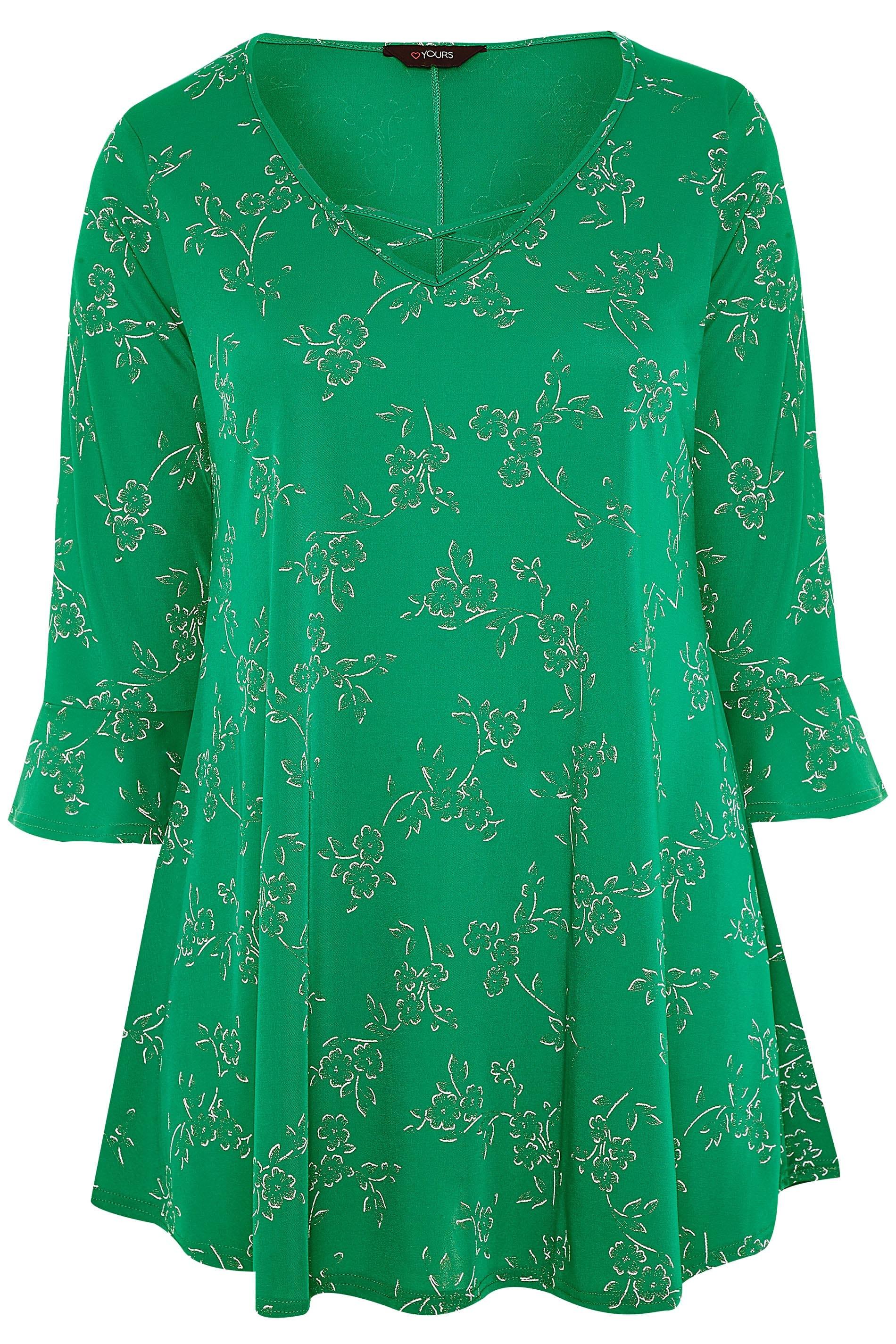 Yours Clothing Damen Übergröße Blumenmuster Gitter Top