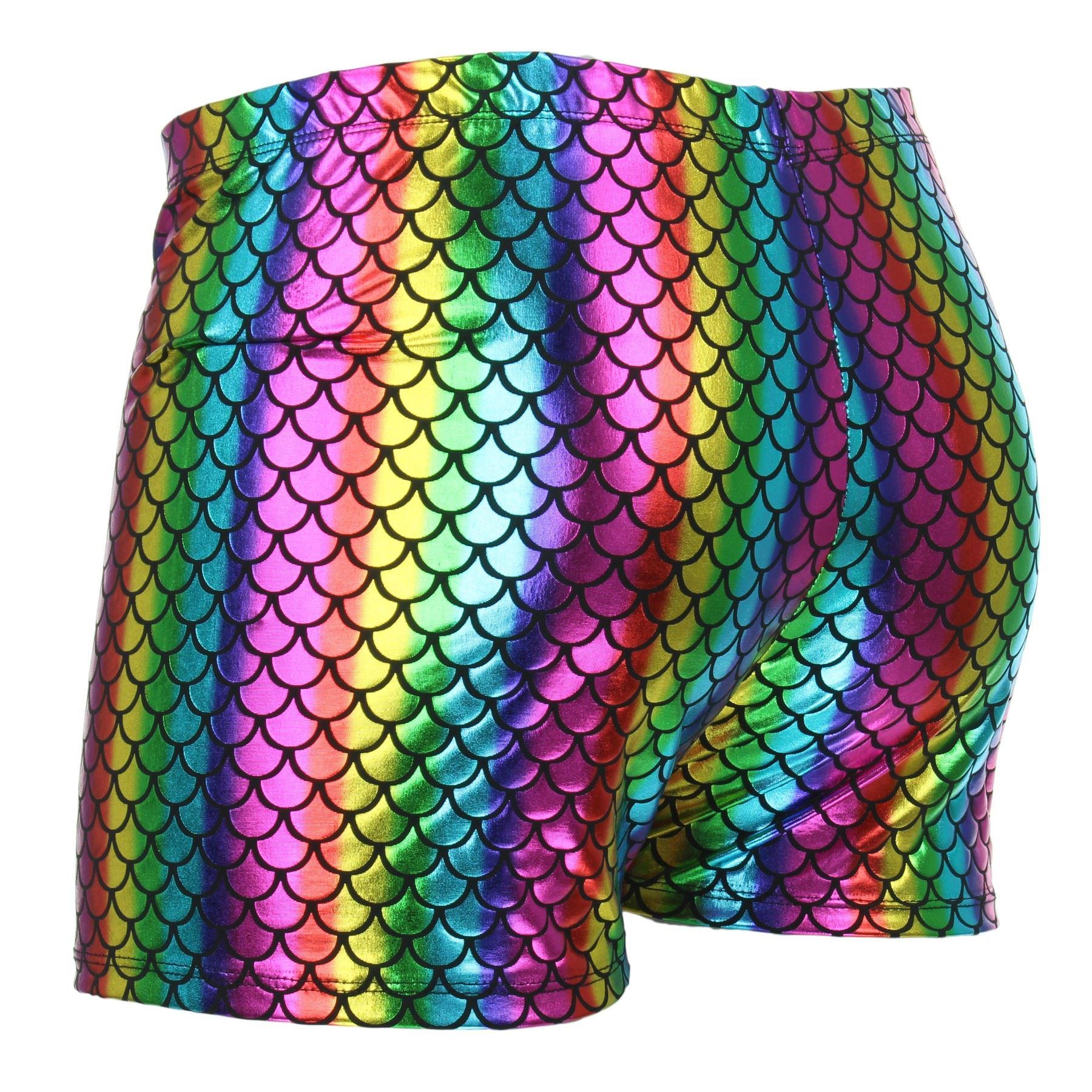 Pantaloncini da Uomo Hot Lucido Luccicante Oro Argento Sirena Squame Festa