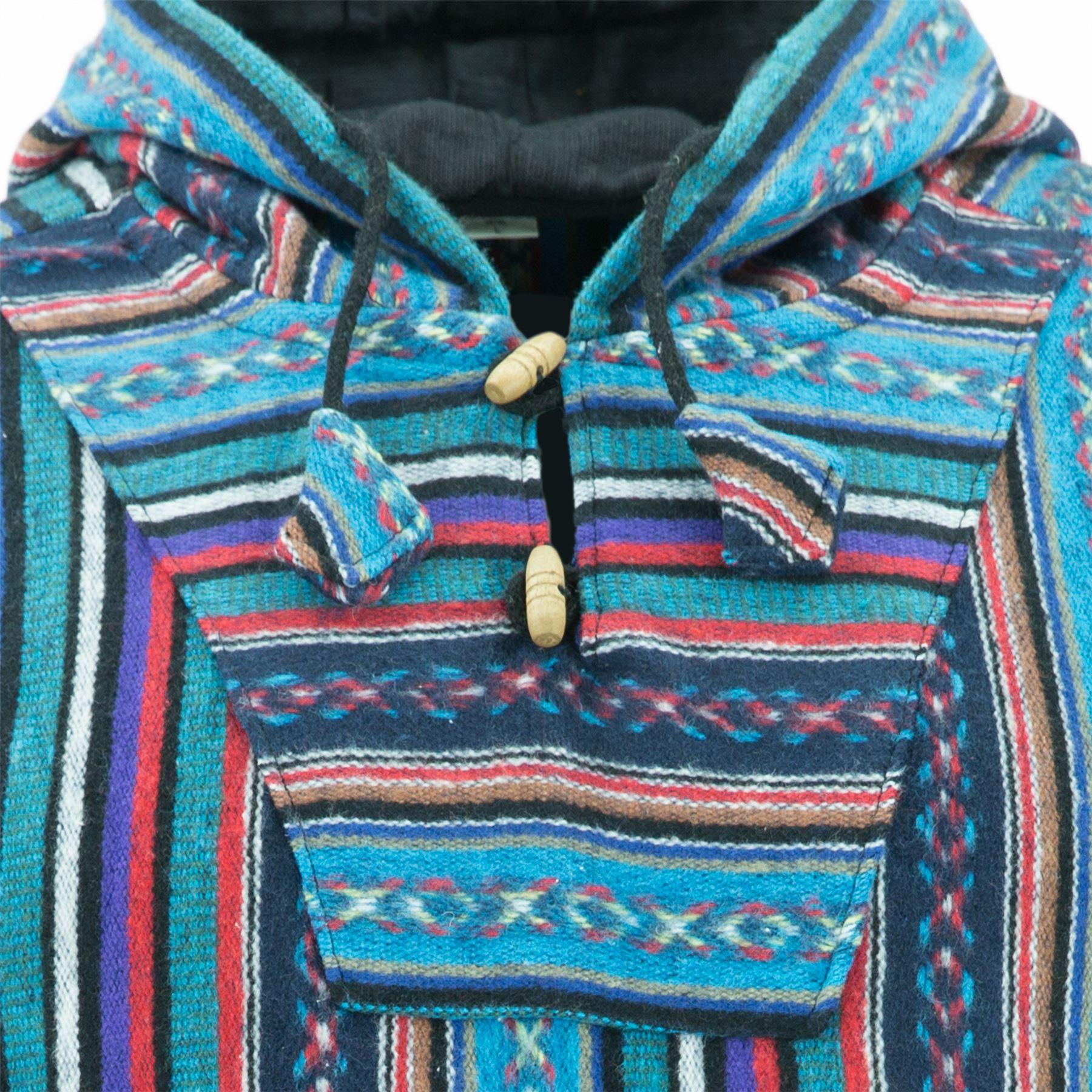 Hoodie Jumper Baja Jerga Drug Rug Hoody Hooded Rainbow Brushed Jacket