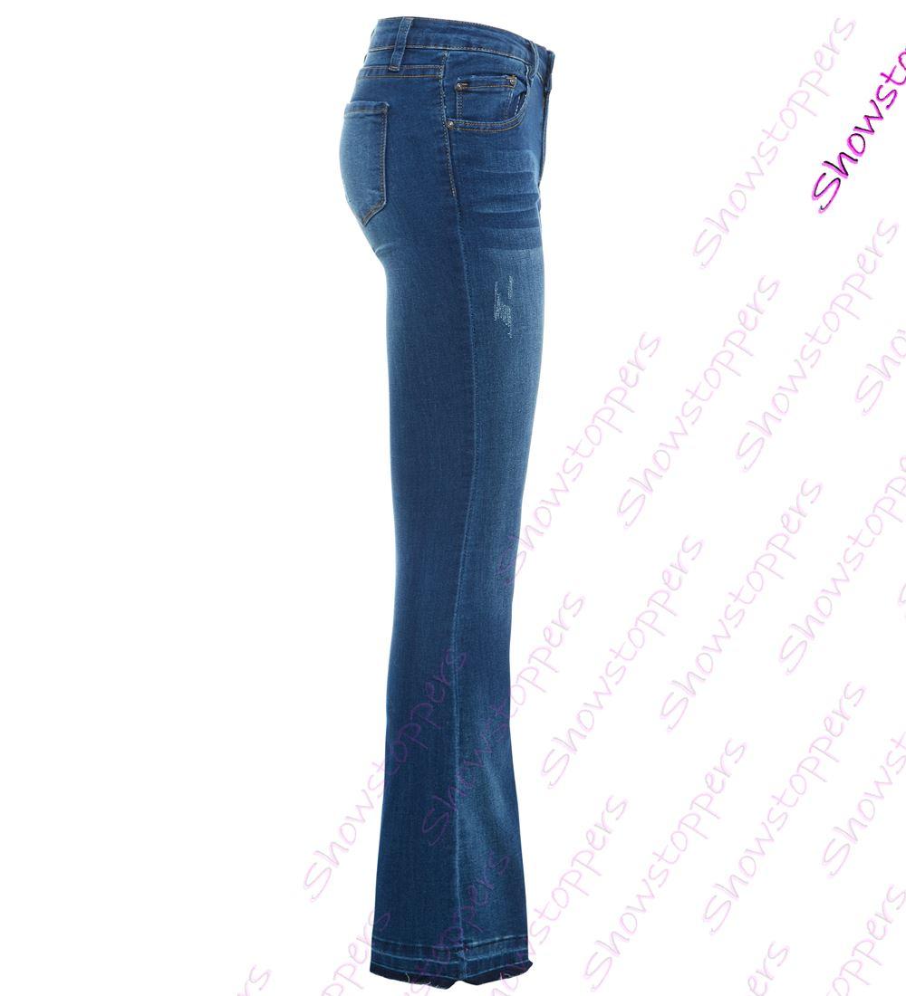 DONNA SLIM JEANS A Zampa Svasato jeans TAGLIA 6 8 10 12 14 NUOVO